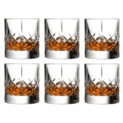 Urban Bar Ginza Cut Crystal Old Fashioned Whiskey Rocks Glasses - 10 oz - Set of 6