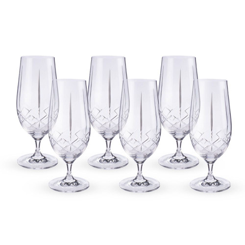 Urban Bar Ginza Cut Crystal Stemmed Beer Glasses - 15.5 oz - Set of 6