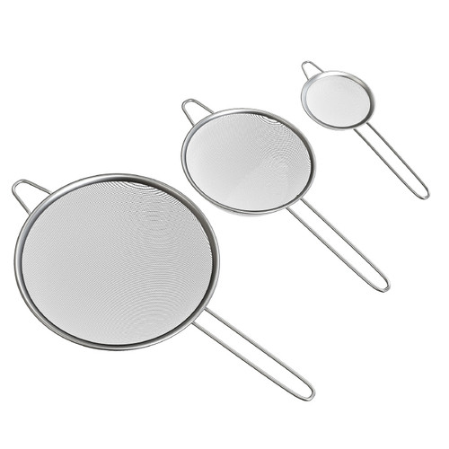 Fine Mesh Stainless Steel Strainers - Set of 3 Sizes
