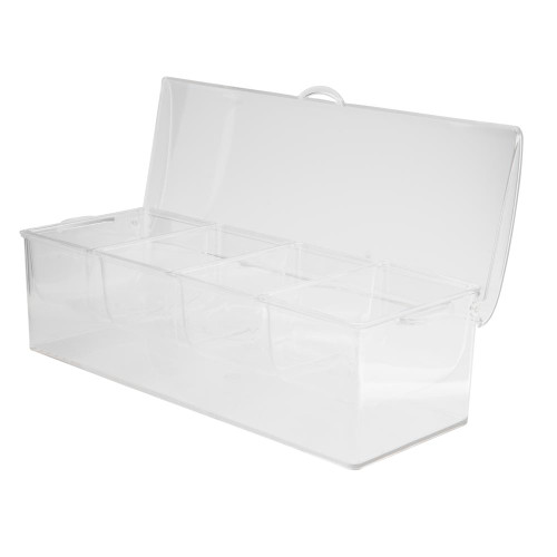 Bar Garnish Tray with Lid & Ice Space - Clear Plastic - 4 Compartments