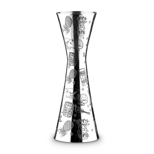 Urban Bar Etched Tiki Aero Stainless Steel Cocktail Jigger - 1oz & 2oz