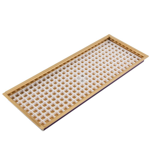 """30 1/4"""" Flanged Mount Drip Tray - Brass Finish - With Drain"""