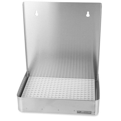 """12"""" Wall Mount Drip Tray - Stainless Steel - With Drain"""