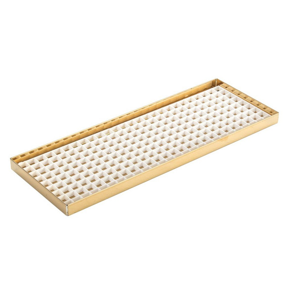 """14 7/8"""" Counter Top Drip Tray - Brass Finish - With Drain"""
