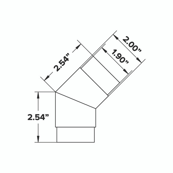 """Flush Angle Fitting 135(45) Degree - Brushed Stainless Steel - 2"""" OD"""