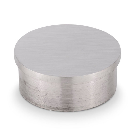 """Flush Flat End Cap - Brushed Stainless Steel - 2"""" OD"""