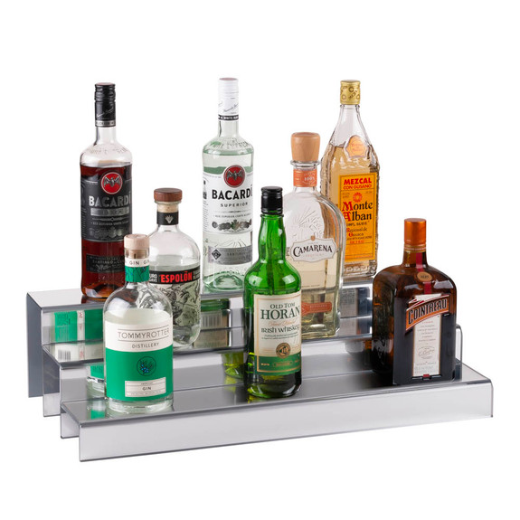 24-inch 3 Tier Liquor Bottle Shelf - Mirror Finish