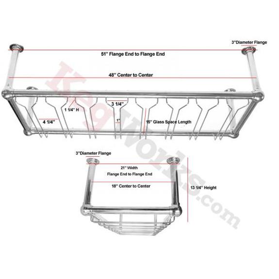 8-Channel Stock Glass Rack - Satin Chrome Specs