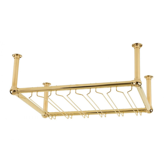 6-Channel Stock Glass Rack - Clear-Coated Brass