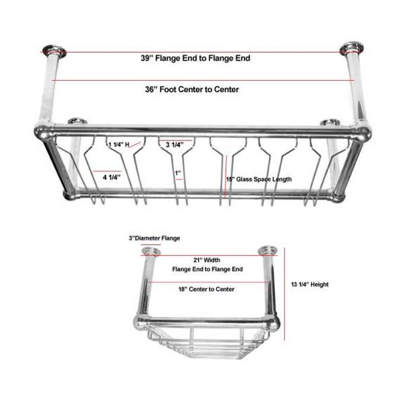 6-Channel Stock Glass Rack - Chrome Specs