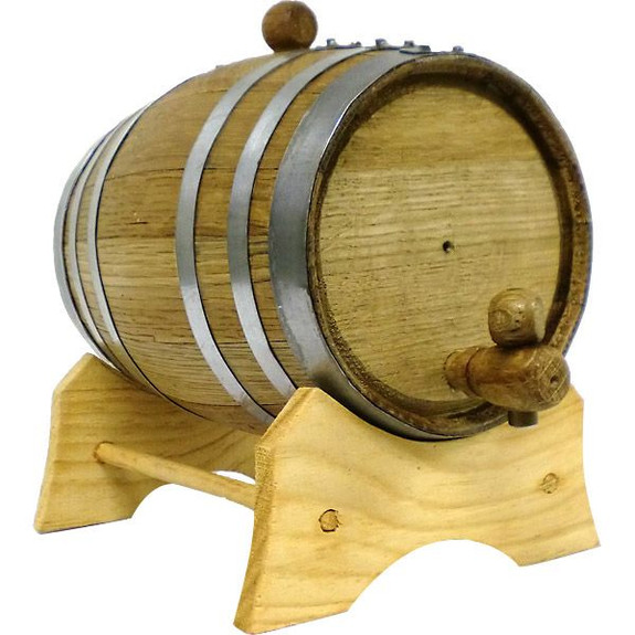 Oak Beverage Dispensing Barrel with Steel Bands