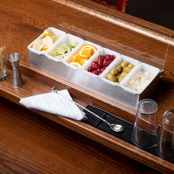 Bar Garnish Tray in Stainless Steel - 6 Compartments