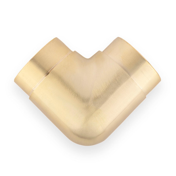 "Flush Elbow Fitting 90 Degree - Brushed (Satin) Brass - 2"" OD"