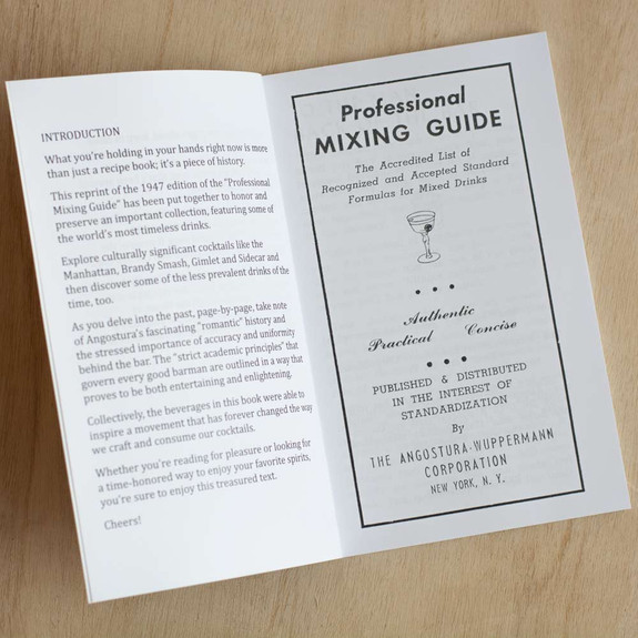 Professional Mixing Guide Cocktail Book - 1947 Angostura Reprint