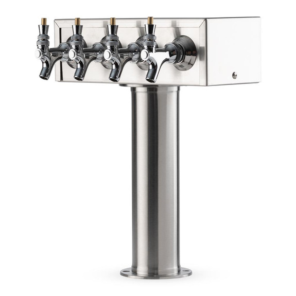 """""""T"""" Style Pedestal Draft Beer Tower - Stainless Steel - 3"""" Column - Air Cooled - 4 Faucets"""