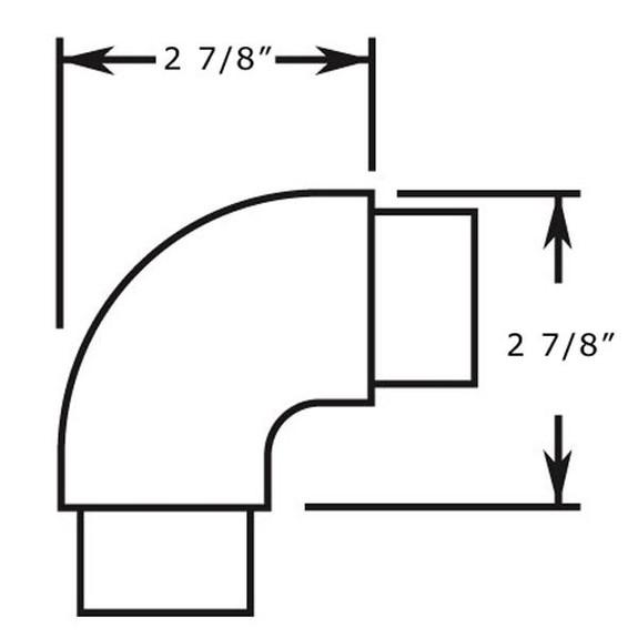 Flush Radius Elbow Handrail Fitting - Brushed (Satin) Stainless Steel Specs