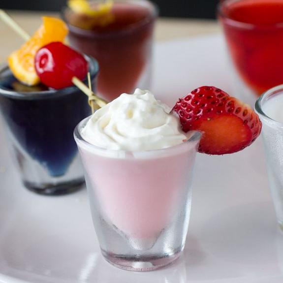Miami Vice Cocktail Flavored Jello Shot Mix in glass shot