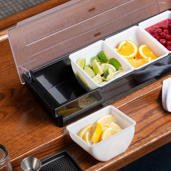 Bar Garnish Tray with Lid - Plastic - 4 Compartments