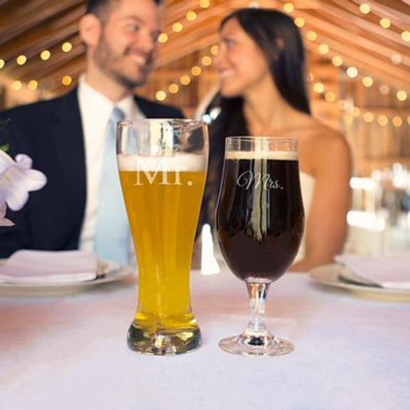 Mr. & Mrs. Engraved Beer Glasses - Set of 2