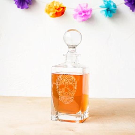 Sugar Skull Square Whiskey Decanter - 32 oz