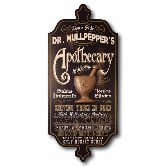Apothecary Shoppe Personalized Wooden Bar Sign with Sculpted Relief