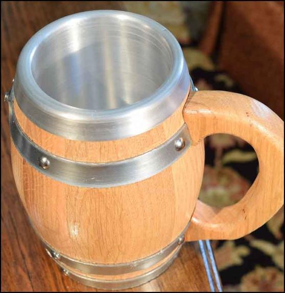 Oak Barrel Mug with Stainless Steel Interior - 16 oz