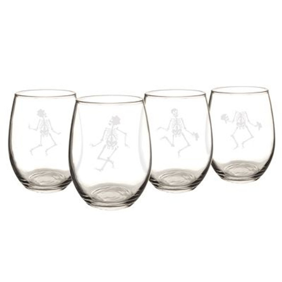 Dancing Skeletons Etched Stemless Wine Glasses - 21 oz - Set of 4