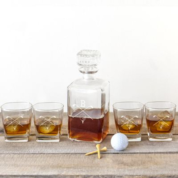 Personalized Golf Decanter Set - 5 Pieces