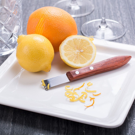 Viski Professional Stainless Steel Citrus Zester with Acacia Wood Handle