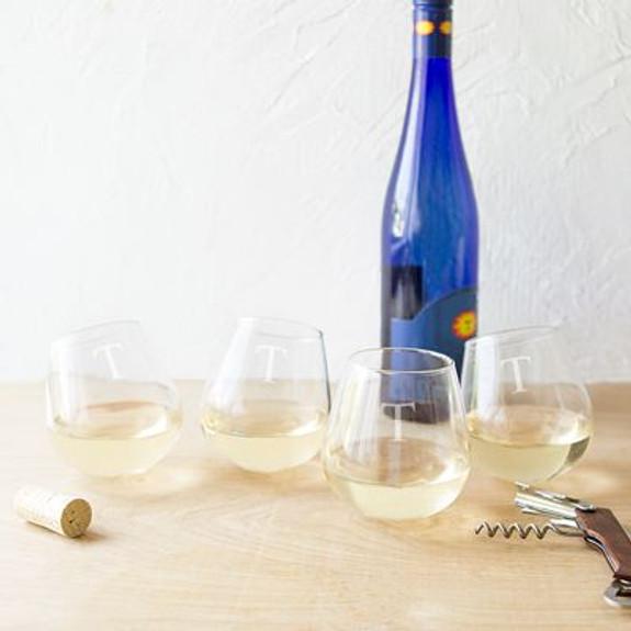 Personalized Tipsy Swivel Bottom Stemless Wine Glasses - 12 oz - Set of 4