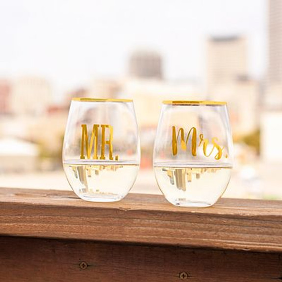 Mr. & Mrs. Gold Rim Stemless Crystal Wine Glasses - 19.25 oz - Set of 2