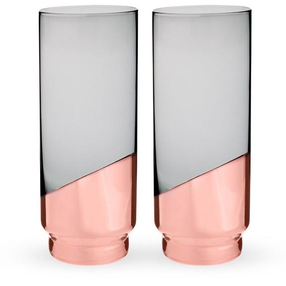 Viski Raye Copper Dipped Crystal Highball Glasses - 14 oz - Set of 2