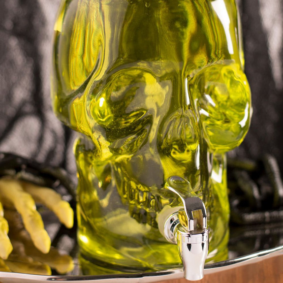 Skull-Shaped Glass Beverage Dispenser with Screw Top Lid - 1 Gallon