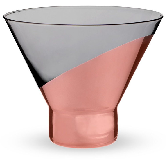 Viski Raye Copper Dipped Stemless Crystal Martini Glasses - 10 oz - Set of 2