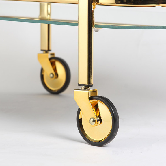 Viski Belmont Two Tiered Bar Cart with Mirrored Shelves - Gold Plated Stainless Steel