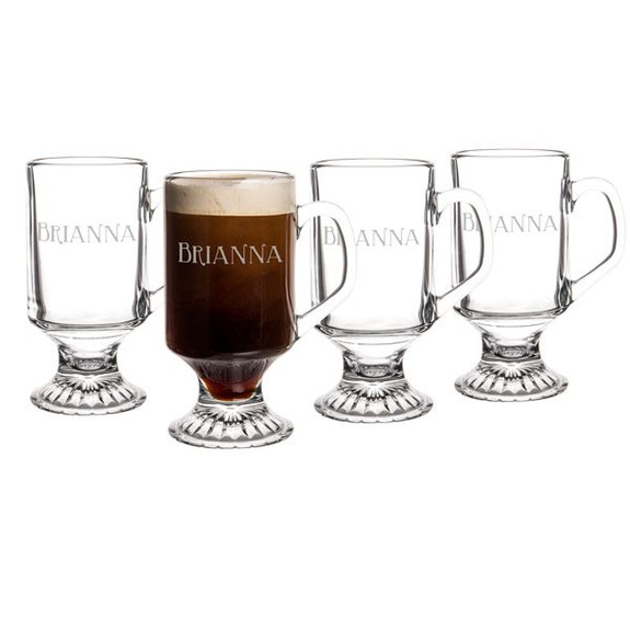 Personalized Irish Coffee Glass Mugs - 10 oz - Set of 4