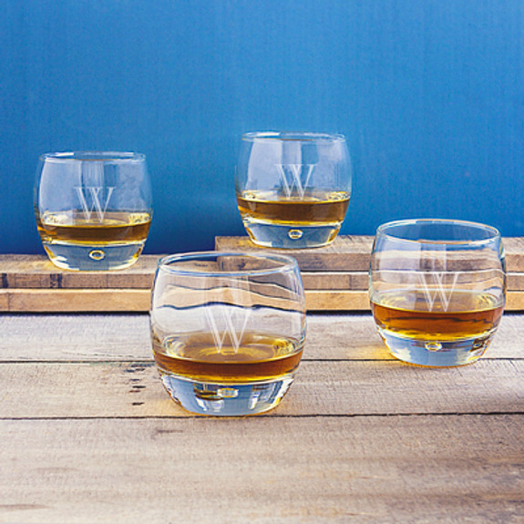 Personalized Rounded Whiskey Rocks Glasses with Heavy Bases - 10.75 oz - Set of 4