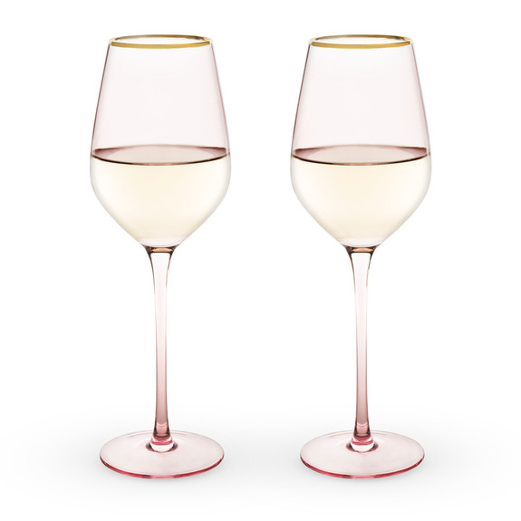 Rose Tinted Crystal White Wine Glasses with Gold Rims - 14 oz - Set of 2