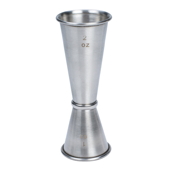 Japanese Style Economy Double-Sided Cocktail Jigger - Stainless Steel - 1 oz & 2 oz