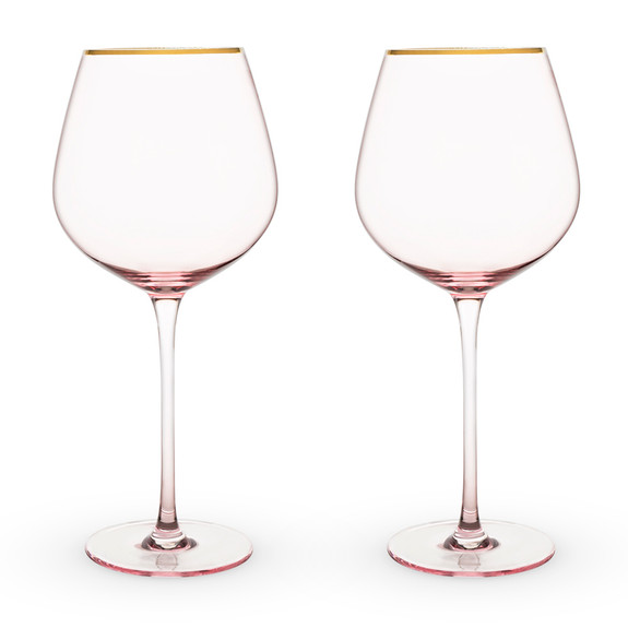 Rose Tinted Crystal Red Wine Glasses with Gold Rims - 20 oz - Set of 2