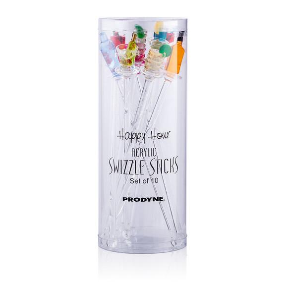 Happy Hour Drink Swizzle Stick Stirrers - Set of 10
