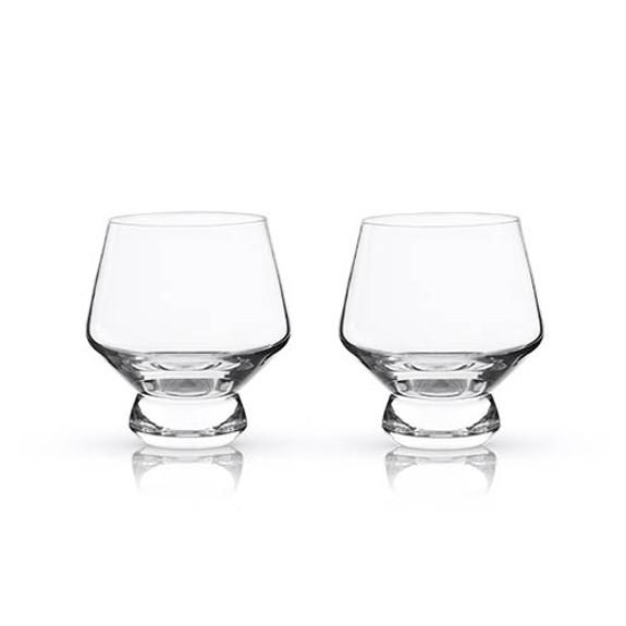Viski Raye Footed Crystal Punch Cups - 8 oz - Set of 2