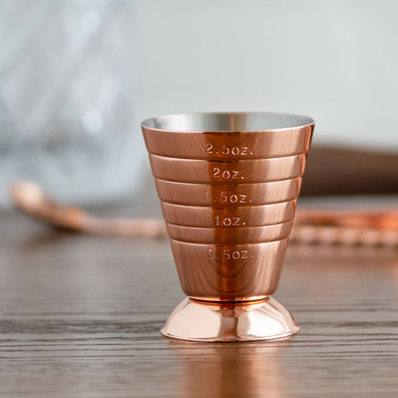 Barfly�� Footed Bar Measuring Cup Jigger - Copper Plated Stainless Steel - 2.5 oz with Fill Lines