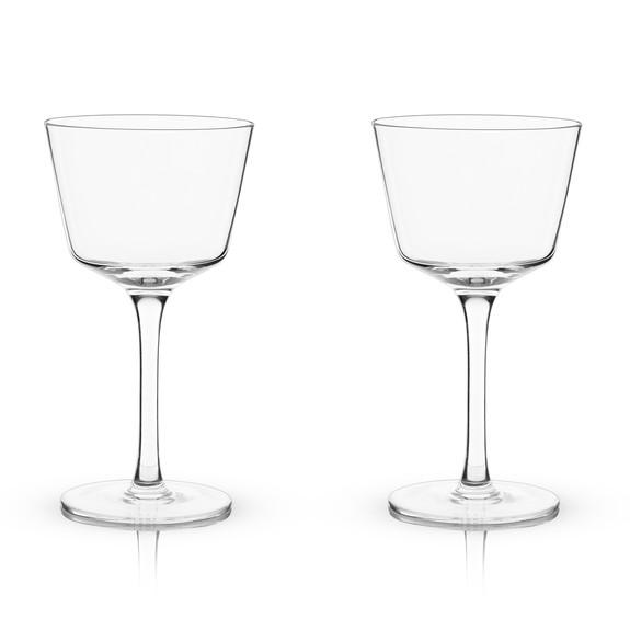 Viski Raye Nick & Nora Vintage Crystal Martini Cocktail Glasses - 6 oz - Set of 2