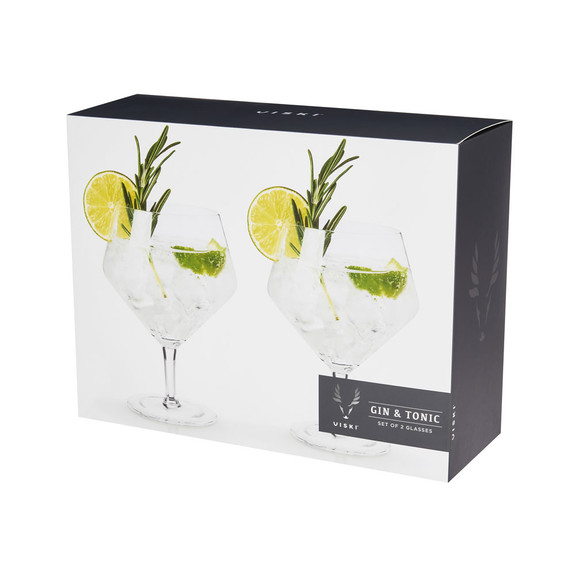 Viski Raye Crystal Footed Gin & Tonic Glasses - 14 oz - Set of 2