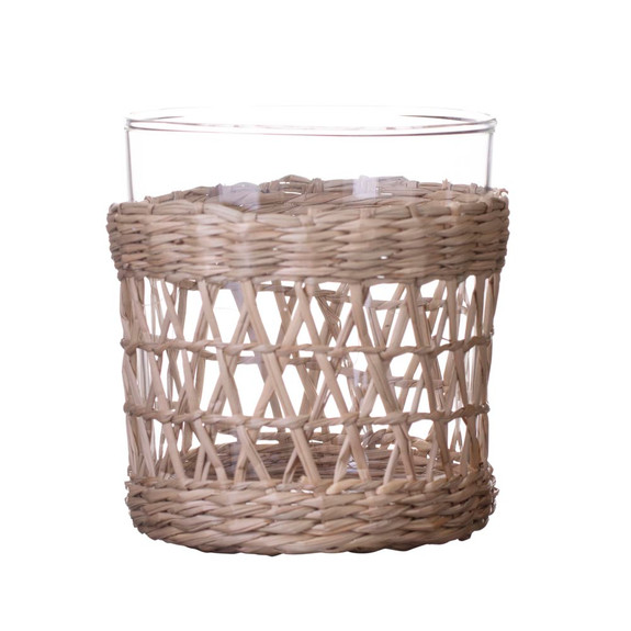 Amanda Lindroth Woven Natural Seagrass Wrapped Rocks Glass - 10.75 oz
