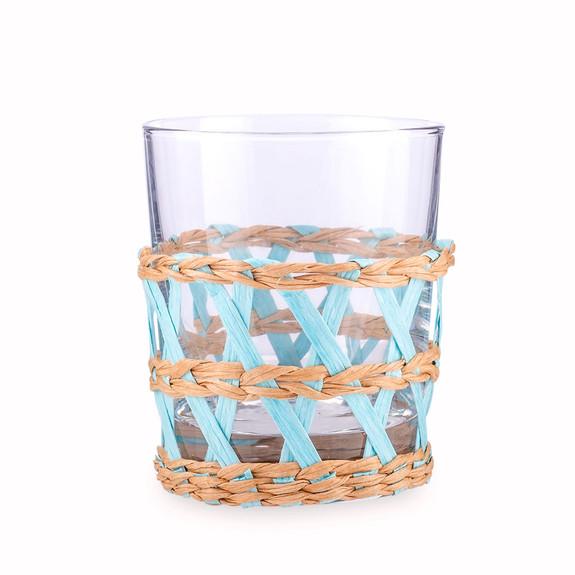 Amanda Lindroth Woven Light Blue Island Raffia Wrapped Rocks Glass - 8.75 oz