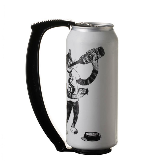 Instant Beer Stein Can Grip Handle - Fits 16 oz Cans - Black