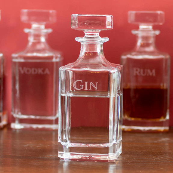 Behind The Bar�� Spirit Decanter Set - Includes 4 Engraved Glass Liquor Decanters