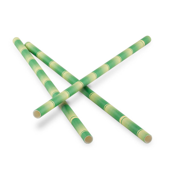 """Green Bamboo Paper Straws - 7.75""""L - Pack of 25"""